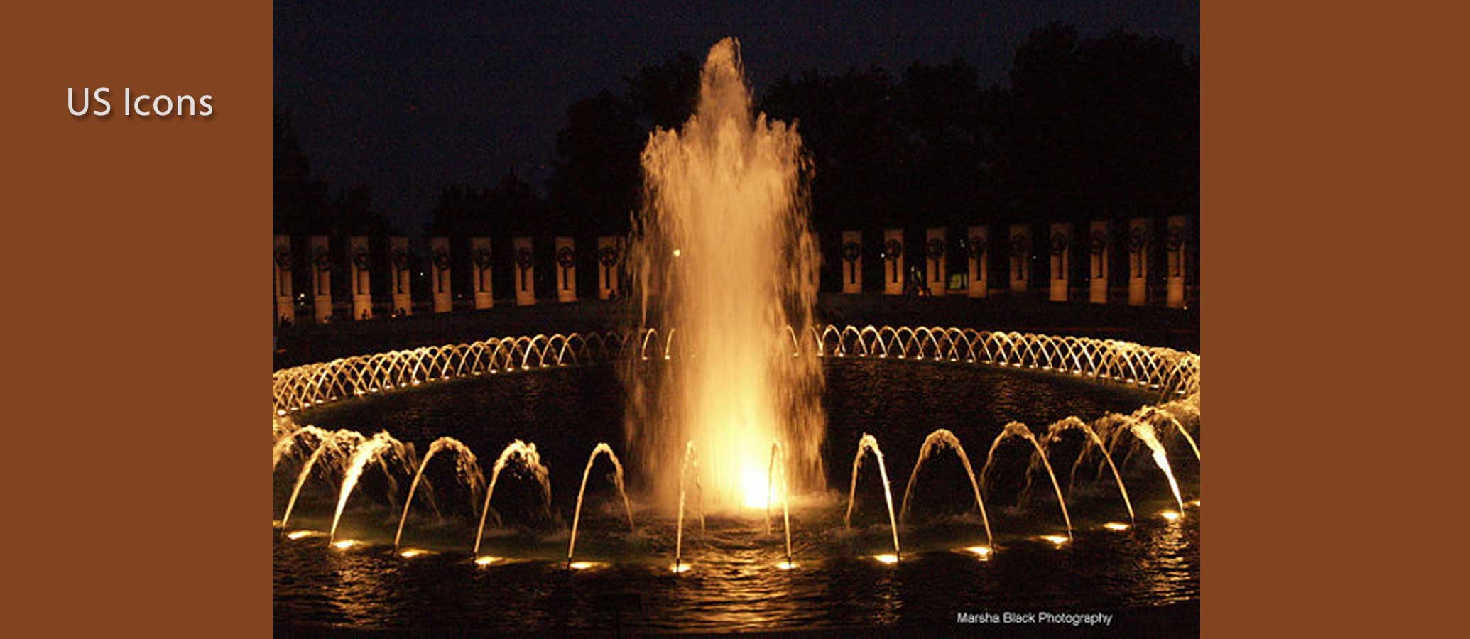 Washington, D.C.'s World War II Monument at night   Photo: Marsha J Black