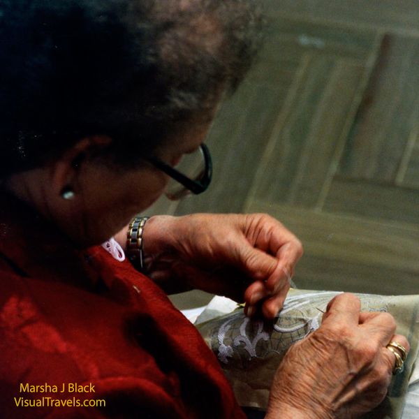 Close-up of the lace-maker doing her very detailed work | Marsha J Black - Visual Travels™