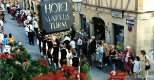 Rothenburg Markus Turm Hotel parade view | Marsha J Black - Visual Travels