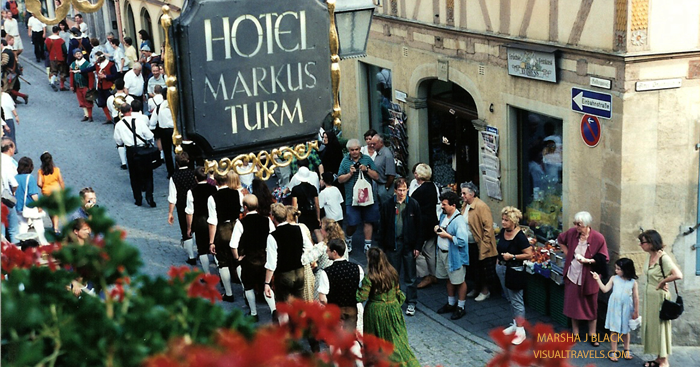Rothenburg Markus Turm Hotel parade view   Marsha J Black - Visual Travels