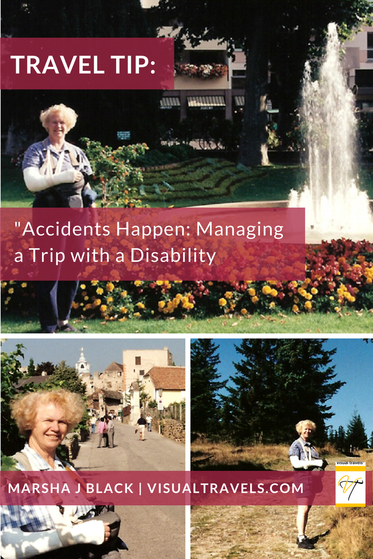 Image: Accidents Happen—Marsha Black in a full shoulder-to-wrist cast (and still taking photos) during her trip from Colmar, France (top) to Durnstein, Austria (bottom left)