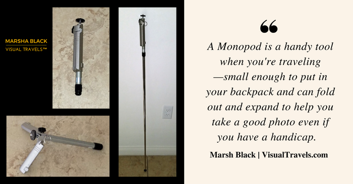 Image: A monopod folded up, expanded to a table-top tripod, and the tall extended position